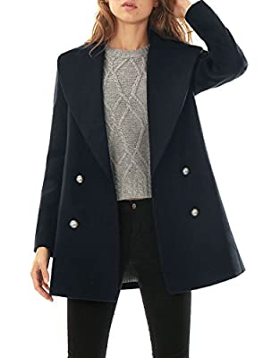 Allegra K Women Notched Lapel Double Breasted Worsted Long Coat
