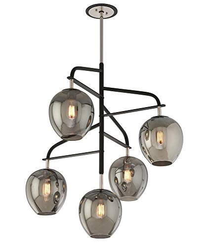 Troy Lighting F4297 Odyssey - Five Light Large Pendant, Carbide Black/Polished Nickel Finish with Plated Smoked Glass