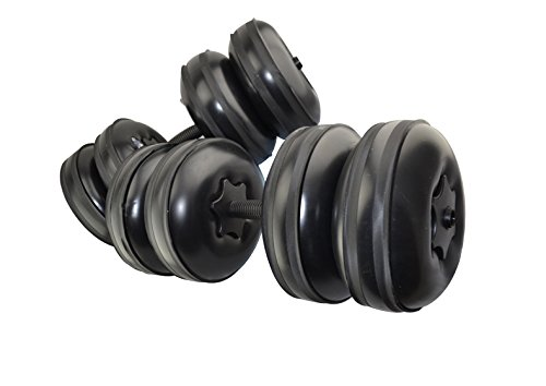 2017 NEW CB Sports Deluxe, Travel Dumbbells - Heavy Weight upto 55lb/25kg + FREE Extension Pole - Adjustable, Portable Dumbbells - Home Workout Equipment (Set of 2) FILL WITH WATER - BLACK