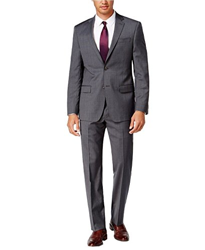 DKNY Slim Fit Two Piece Men's Suit 100% Wool Two Button Side Vents Flat Front Pants Gray Mini Check (38 Short USA Jacket/31 Waist Pants) (Check Wool 2 Button Suit)