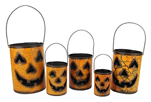 Gerson Set of 5 Nesting Luminary Jack-O-Lantern Pumpkin Halloween Container Baskets