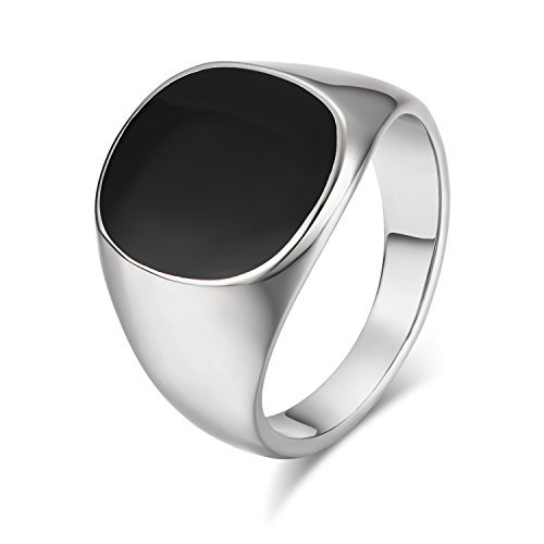Yoursfs Onyx Ring for Men Signet Ring with Black Square Enamel Trendy Jewelry (Onyx Rings, 8) -