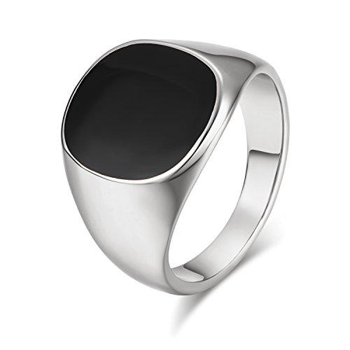 Italina Yoursfs Mens Signet Ring Enamel Fashion Platinum ...