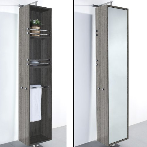 Wyndham Collection April Linen Tower & 360 Degree Rotating Floor Cabinet with -