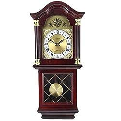 MISC 24h Chiming Wall Clock 26 Cordless Hourly Wallclock Royal Pendulum Chimes Tiny Antique, Glass Wood Brown Gold