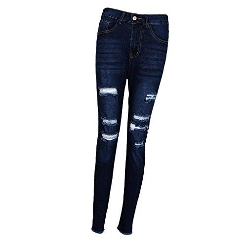 Homyl Crayon Denim Trous Haute Jeans Dchirs en Taille Bleu Pantalons Femme Slim 7q7rz