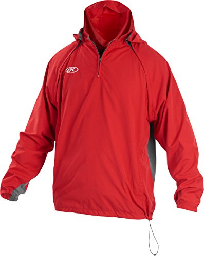 Rawlings Sporting Goods Mens Adult Jacket W Removable Sleeves & Hood, Scarlet, Large