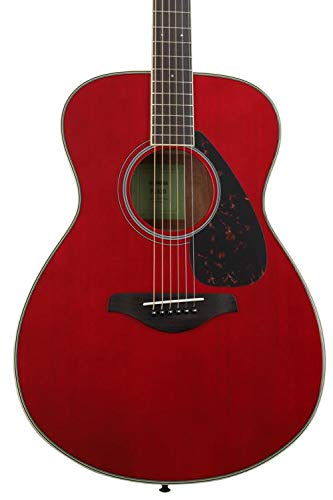 Guitar Red Solid - Yamaha FS820 Small Body Solid Top Acoustic Guitar, Ruby Red