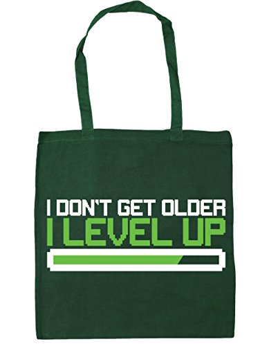 HippoWarehouse I Don 't Get Older I nivel Up bolsa de la compra bolsa de playa 42 cm x38 cm, 10 litros, Cornflower Blue (azul) - 21425-TOTE-cornflower blue Bottle Green