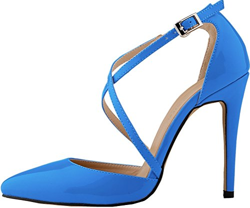 CFP YSE-302-12QP Womens Non Skid Pretty Fresh Ponity Toe Slim Spike High Heel Ankle X-Strap Snug Office Sandals Charm Pretty Stilettos Simple Easy Business Party Buckle Sturdy Skyblue