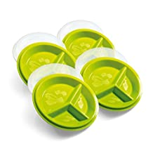 Precise Portions 4-Go Healthy Portion Control Plates - Pack of 4, 3-Section Diet Plate with Leak-Proof Lids, Dishwasher & Microwave Safe, Helps Manage & Lose Weight, Metabolism & Blood Sugar
