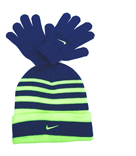 Nike Boys Swoosh Cuff Striped Knit Beanie & Gloves Set 8/20 Gym Blue/Neon