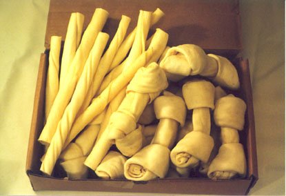10 White Rawhide (10 pcs each of 10