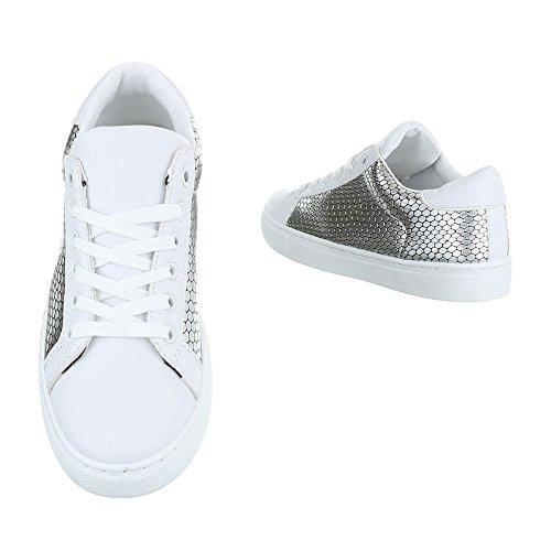 Ital-Design - Zapatillas de casa Mujer Silber Weiß FC-S25