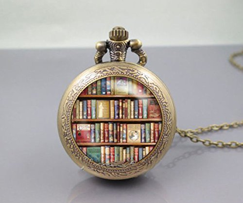 Bronze Vintage Books Pocket Watch Living Locket Necklaces Style Retro Vintage Library Pocket Watch Necklace Books (Hunter And Deer Costume)