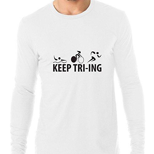 Hollywood Thread Keep Tri-ing Triathlon Ironman Race Training Men's Long Sleeve - Apparel Triathlon Ironman