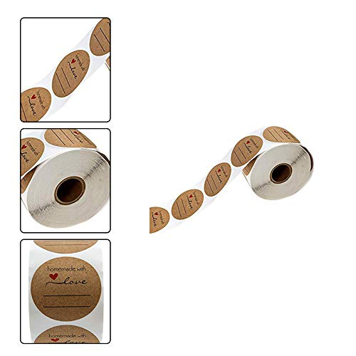 Cupcinu Etiquetas adhesivas adhesivas hechas a mano Etiquetas adhesivasHandmade with Love Etiquetas de precio en rollo Etiqueta de papel