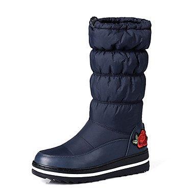 RTRY Zapatos De Mujer Pu Novedad Moda Otoño Invierno Confort Botas Botas Planas Botas De Tacón Puntera Redonda Mid-Calf Applique Para Office &Amp; Vestido De Carrera US7.5 / EU38 / UK5.5 / CN38