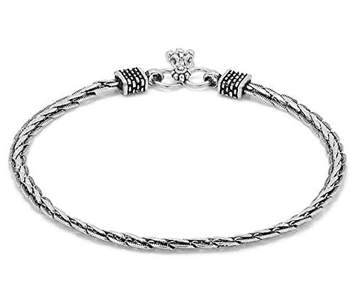 D&D Crafts Oxidized Silver Tone Sterling Silver Anklet For Girls, Women by D&D (Image #2)