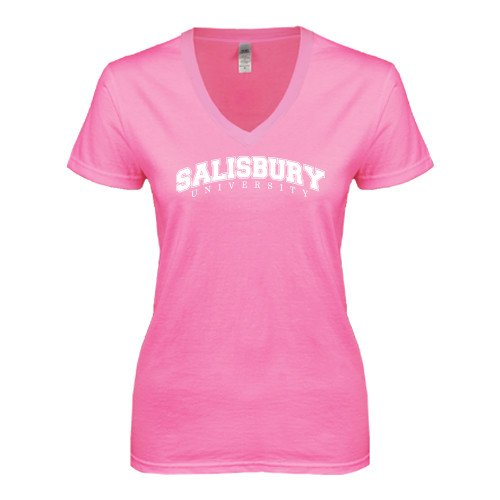 Salisbury Next Level Ladies Junior Fit Deep V Pink Tee 'Arched Salisbury University'
