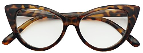 50mm Round Pointed Cat Eye Rx Prescription Magnifying Reading Readers Glasses for Women (Tortoise, 1.50)