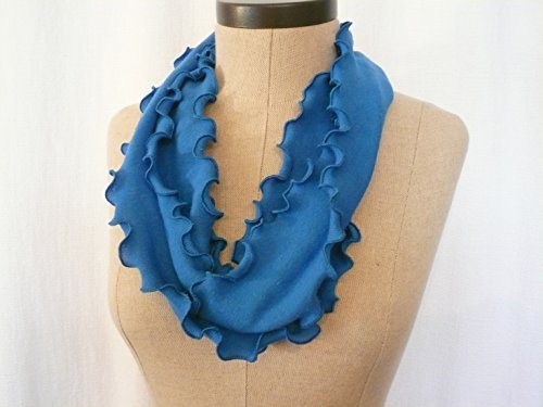 Ruffle Blue Infinity Scarf - Machine Washable, Rib Knit Circle Scarf, FREE Shipping, American Made