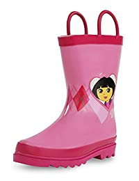 Nickelodeon Kids Girls' Dora The Explorer Character Printed Waterproof Easy-On Rubber Rain Boots (Toddler/Little Kids)