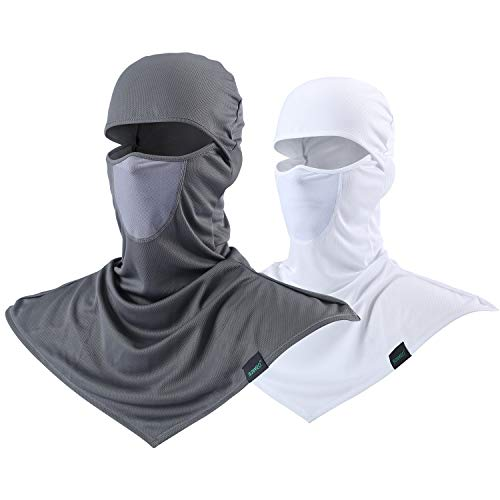 - Balaclava - Windproof and Dust Sun Protection Full Face Mask Cycling Motorcycle Breathable Neck Cover in Summer for Men and Women (Grey+White)