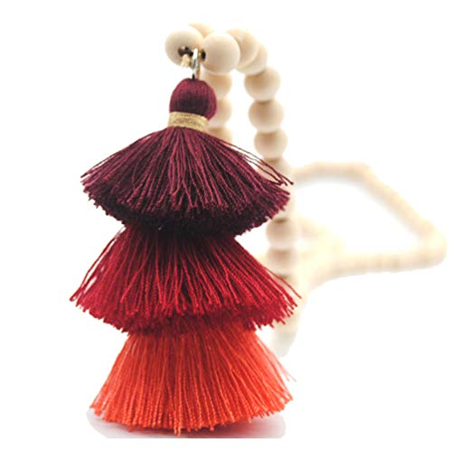 (Bohemian Long Necklace Pendant Tiered Layered Tassel Thread Fringe Beads Chain for Women Girls Red Wine)