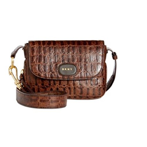 DKNY Randall Small Flap Crossbody Brown Croco