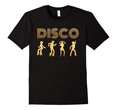 70s Disco Clothing (Men's Disco Shirt 1970's Style Dancers Dancing Retro Gold Design Large Black)