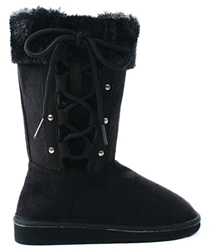 Kids Girls Forever Aling32 Black Lace Up Faux Fur Lined Shea