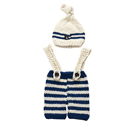 Elevin(TM)Newborn Baby Girls Boys Crochet Knit Costume Photo Photography Prop Outfits (Beige) (Reindeer Baby Costume)