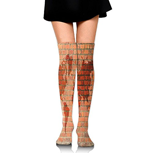 Hizhogqul Brick Wall With World Atlas Map Reflection Pattern Contemporary Artful Scene Women's Fashion Over The Knee High Socks (60cm) ()