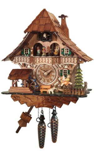 Cuckoo Clock with One Day Movement as Shingle Roof, 13.5 Inch
