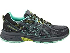 With a redesigned midsole and upper, our new GEL-Venture® 6 delivers excellent shock absorbing comfort, so you can take on the trail. Your tread will benefit from the rugged, one-piece outsole, featuring multi-directional lugs for confidence-...