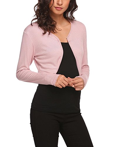 HOTOUCH Womens Long Sleeve Boleros Shrugs Crop Cardigan Pink M]()
