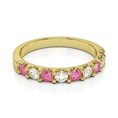 Or jaune 18 carats 0.29 CT G-H/VS Certifié Coupe ronde Tourmaline Rose et diamants Agdr-1108