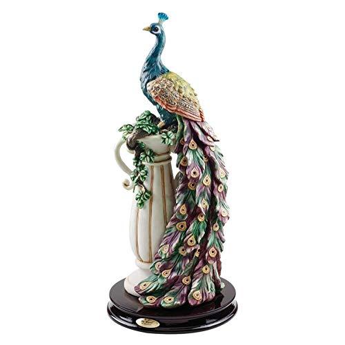 Design Toscano Peacock's Sanctuary Home Decor Statue, 17 Inch, Full Color (Peacock Decorative Items)