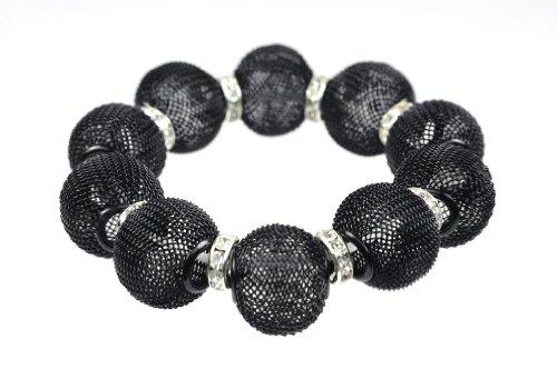 NYFASHION101 Women's Metal Mesh Ball Stretch Bracelet with Rhinestone Ring Charms, Black