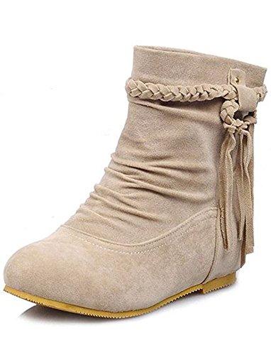 Seoia Women's Sweet Fringes Slouchy Heighten Wedge Low Heels Short Ankle Booties 0622G