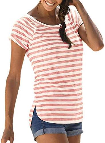 Rcool Camiseta Camisetas Tops y Blusas Camisetas Mujer Manga Corta Camisetas Deporte Mujer Camisetas Mujer, Camiseta Estampada a Rayas de Manga Corta con Cuello Bohemio O B: Amazon.es: Ropa y accesorios