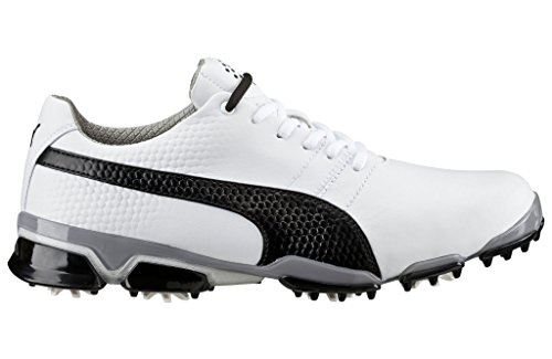 PUMA Men's Titantour Ignite Golf Shoe, White/Black/Drizzle, 9.5 M US