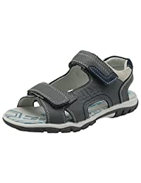 Apakowa Boy's Double Adjustable Strap Leather Sandals with Arch Support (Toddler/Little Kid/Big)