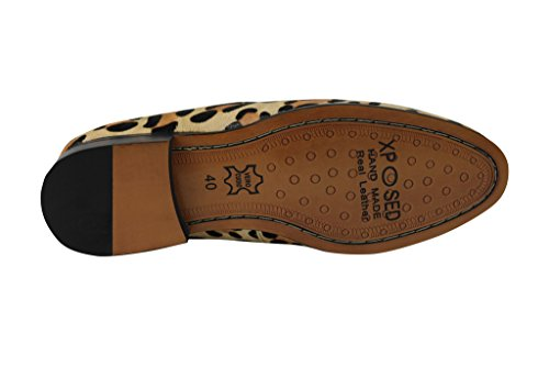 Herren Kalb Haar Leopard Print Leder Quaste Ferse Slipper smart casual fahren Slip On Party Schuhe