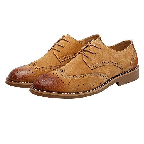 2018 Männer Klassische Business Schuhe Matte Atmungsaktiv Hohl Carving Echtes Leder Lace up Ausgekleidet Oxfords (Wildleder Optional) (Color : Suede Gray, Größe : 39 EU) Suede Brn