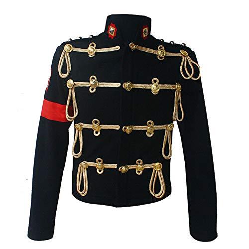 Michael Jackson Costume Jacket Royal England Military Black Woolen Formal Dress Jacket T Shirt (Jacket and t Shirt, L)