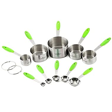 LAXINIS WORLD Stainless Steel Measuring Cups and Measuring Spoons Set - 10 Piece Stackable Measuring Set with Soft Silicone Handles to Measure Dry and Liquid Ingredients, (Green)