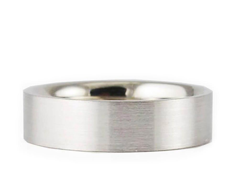Men's & Women's 14k White Gold Flat Brushed 7mm COMFORT FIT WEDDING BAND size 13.25