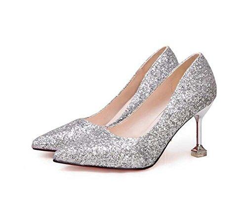 Plata Basic Talones para Fall Paillette Casual Zapatos Noche mujer Spring Plata Pump de y de Fiesta wqxUBZ